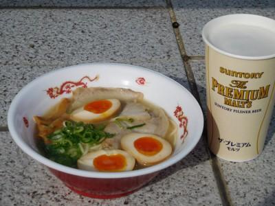 中村商店・青森シャモロックラーメン+ビール