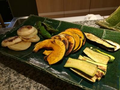 兵庫県産の焼き野菜のアップ