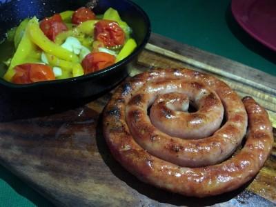 ぐるぐるウインナーと野菜のオリーブオイル焼き