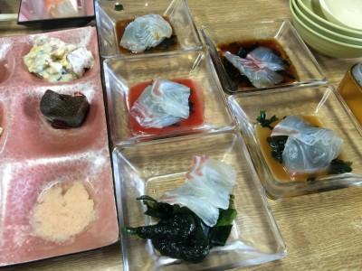 真鯛のうす造り2切れずつ5種のソース