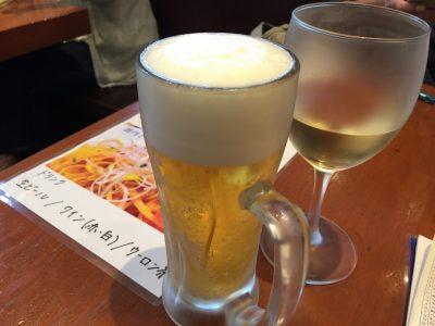 生ビールと白ワイン