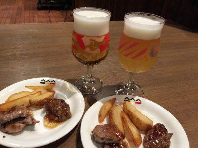 アンガス牛ロース肉と国産牛フィレ肉の食べ比べセットとビール