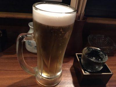 生ビールと日本酒・ひやしぼり