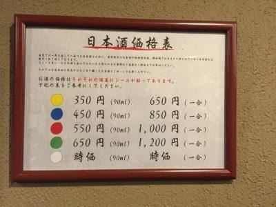 日本酒バル 酌・日本酒価格表