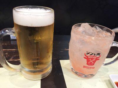 生ビールとジントニ・グレープフルーツ