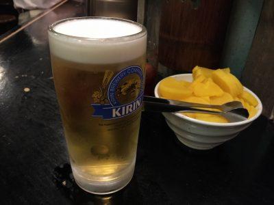 生ビールとたくあん