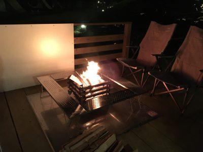 焚き火台で焚き火体験