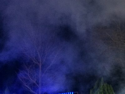 オーロラショーの煙