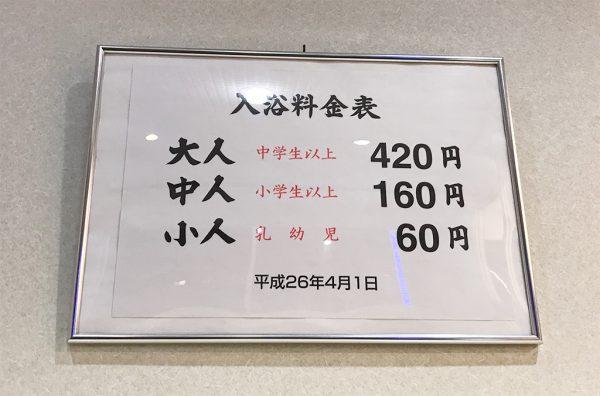入浴料・料金表