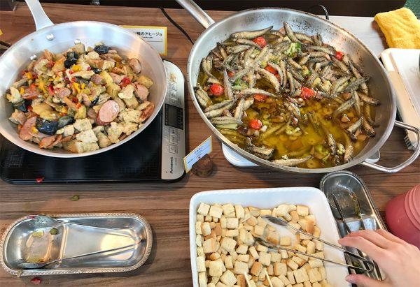 ソーセージ・チキン・野菜のハーブ焼き&海老と鰯のアヒージョ