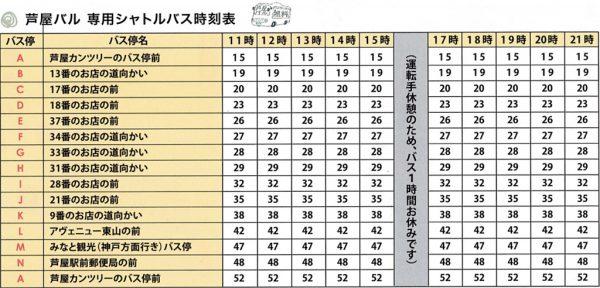 芦屋バル無料シャトルバス時刻表