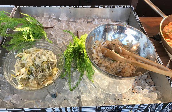 オニオン・ジャコ・ゴーヤ・大葉 ノンオイルマリネ、タイ風魚介の冷製フォー