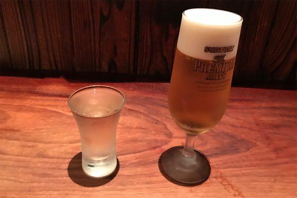 日本酒と生ビール