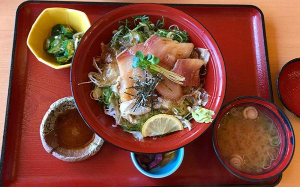 蔵前温泉 さらさの湯 お食事処 笹味楽 花かつおごはんの鰤漬丼
