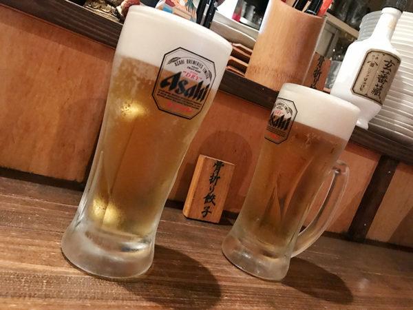 骨折り餃子 貴月 生ビール