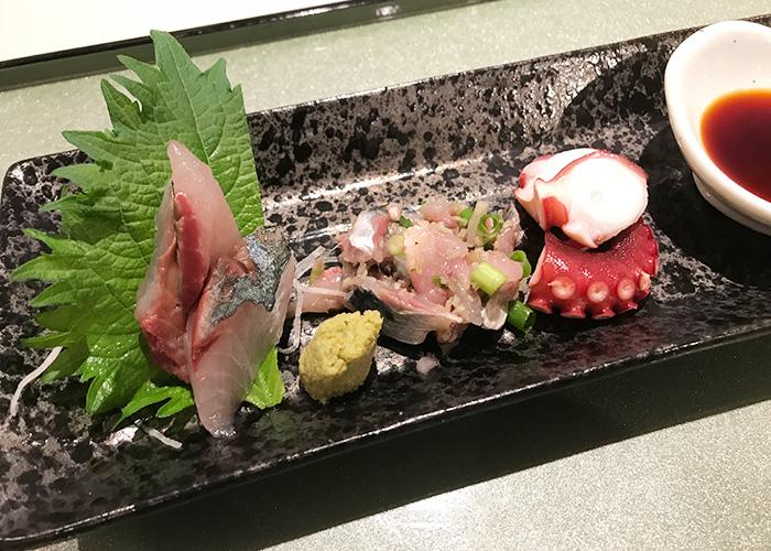 明石はっ心 旬のお造り3種盛り 明石蛸 明石まちなかバル 2019 春