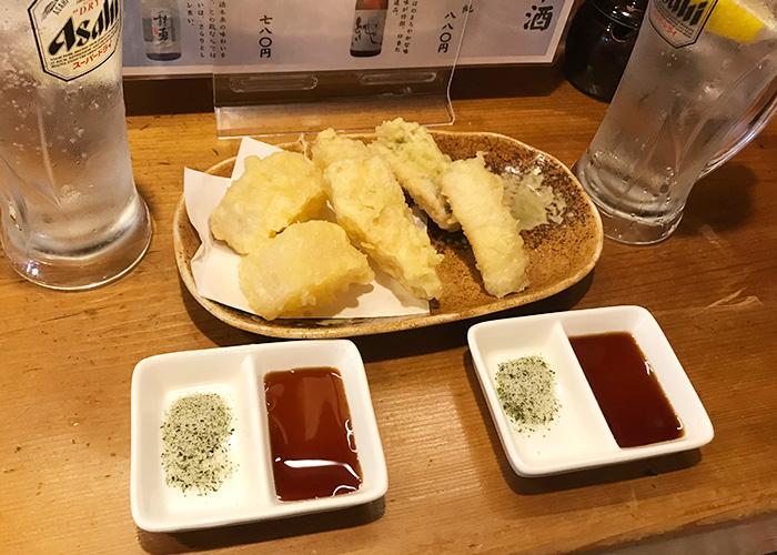 野菜酒場 天ぷら白金 天ぷらは3種盛り 明石まちなかバル 2019 春