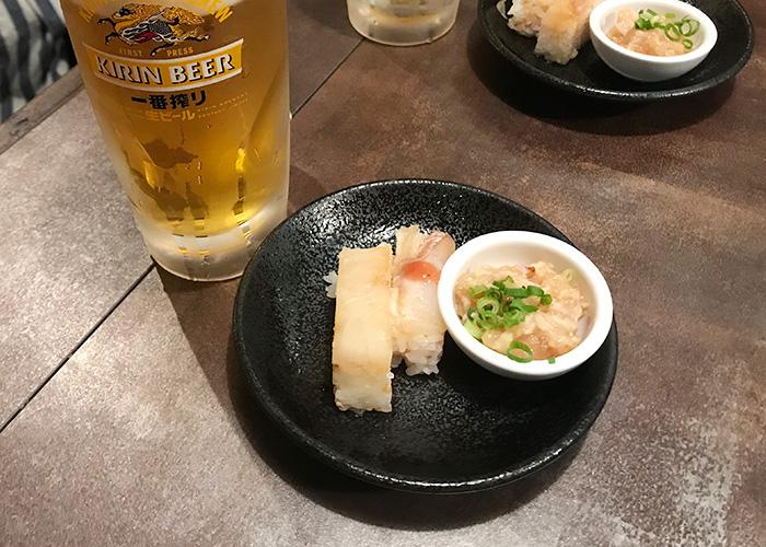 うおとり笑店 明石鯛押し寿司2種盛りと淡路鶏なめろう 宝塚バル 2019 逆瀬川 小林 仁川